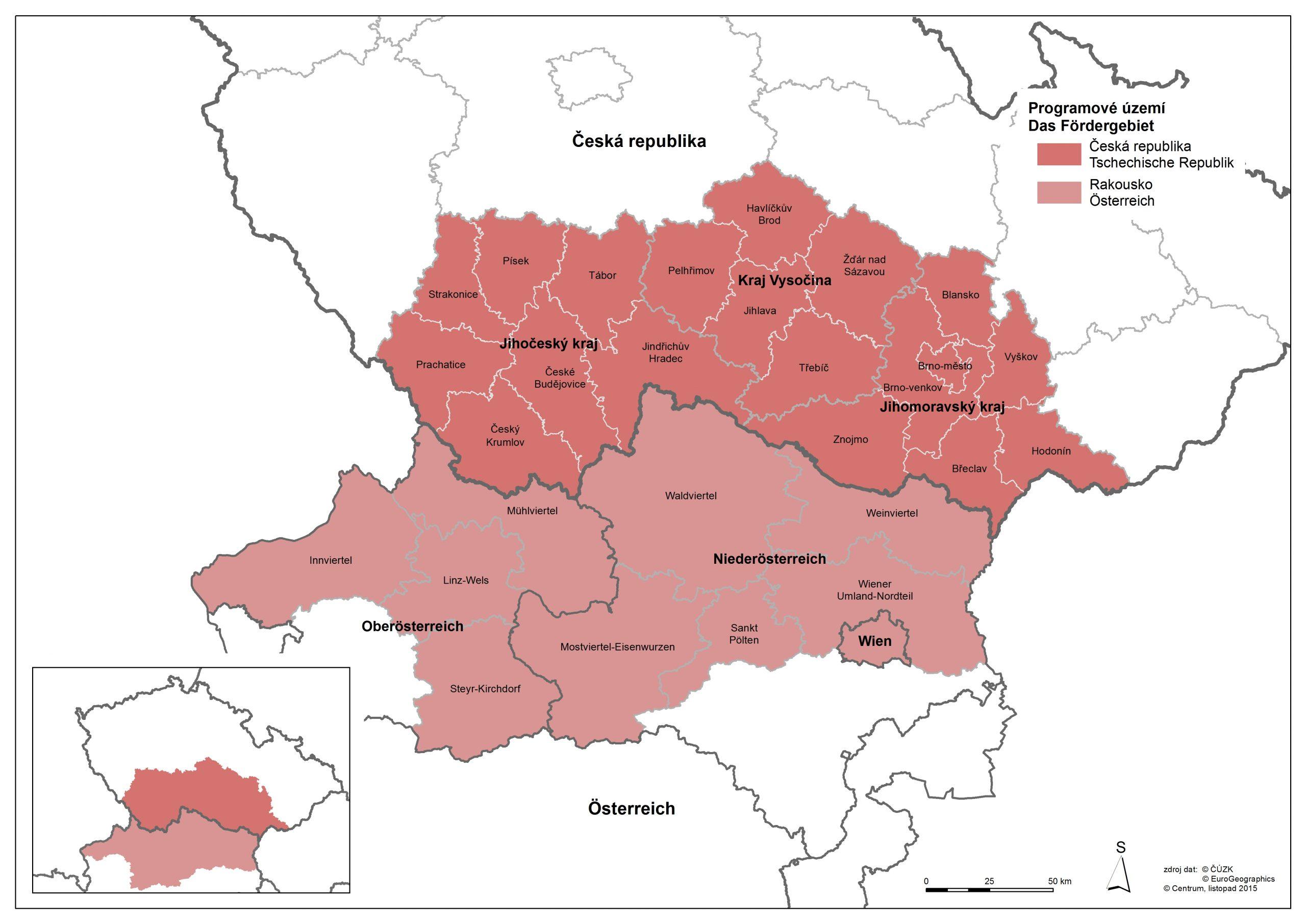 Programmgebiet Interreg Österreich-Tschechische Republik  Fotocredit: © Amt der NÖ Landesregierung, Gemeinsames Sekretariat INTERREG AT-CZ